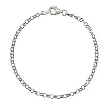 "925 Sterling Silver 3.2mm Italian Round Rolo Cable Link Chain Bracelet 7"" - 8"""