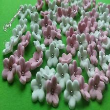 100 EDIBLE SUGAR FLOWERS BLOSSOMS BLOOMS CAKE CUPCAKE TOPPERS (MIXED COLORS)