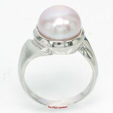 10-11mm Natural Pink Freshwater Cultured Pearl Ring, Sterling Silver 925