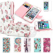 PU LEATHER WALLET FLIP VINTAGE FLORAL STAND CASE COVER FOR IPHONE 4 4S 5 5S 5C