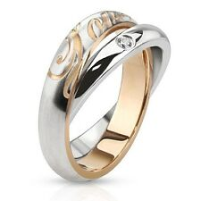 "Stainless Steel Combination of Single CZ Paved Band Ring with ""LOVE"" Engraved Ba"