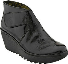 "Womens FLY LONDON ""your"" short ankle boot black pat leather wedge"
