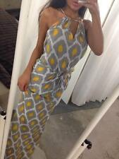 AUSTRALIAN DESIGNER NEW Yellow & Grey Ikat Keyhole Ladies Boho Maxi Dress XL