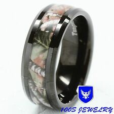 8MM Mens Tungsten Ring Real Oak Camouflage Black Plated Wedding Band Size 8-14