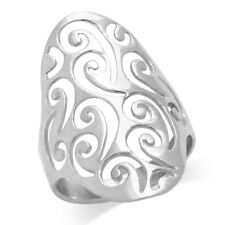 Stunning 925 Sterling Silver Long SCROLL FILIGREE Ring Size 5 6 7 8 9 10 11