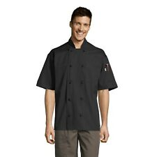 Antigua Chef Coat, 10 Knot Buttons, Thermometer Pocket, Short Sleeve, XS-6XL