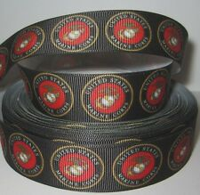 """GROSGRAIN MARINE CORPS 1"""" INCH RIBBON *YOUR CHOICE OF 1, 3 or 5 YARDS"""