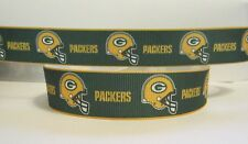 "GROSGRAIN GREEN BAY PACKERS 7/8"" INCH RIBBON 1, 3 OR 5 YDS *SHIPS FREE* USA*"