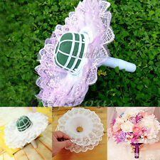 1/4/6x Bouquet Handle Holder Bridal Floral Foam Wedding Lace Collar Flower Decor