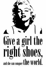 Marilyn Monroe Quote 'Girl Shoes' Home Decor Canvas Print, choose your size.