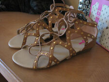 PINK KEY Camel TEXTURED Low GLADIATOR Wedge LACED Sandal 37 US - NEW