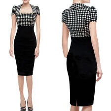 New Fashion Women Vintage Plaids Check Pencil Bodycon Sheath Cocktail Dress Gift