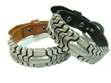 Men Women Unisex charm cool heavy metal Genuine Leather Bracelet wristband 391