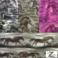 "ANIMAL HORSE PRINT POLAR FLEECE ANTI-PILL FABRIC 60"" WIDTH SOLD BY THE YARD"