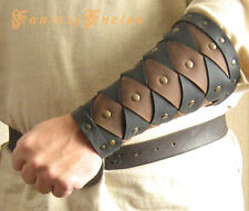 Medieval Warrior Viking Gladiator Forearm 2 Tones Leather BracerS -A Pair-
