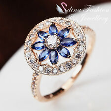 18K Rose Gold Plated Genuine Swarovski Crystal Round Shaped Sapphire Flower Ring