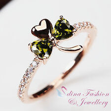 18K Rose Gold Plated Swarovski Crystal Exquisite Lucky Three Leaf Clover Ring