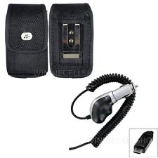 Heavy Duty Car Charger + Vertical Canvas Metal Clip Case for Alcatel Cell Phones