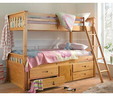 3FT + 3FT DETACHABLE SOLID PINE BUNK BED WITH UNDERBED STORAGE GUEST BED OPTIONS