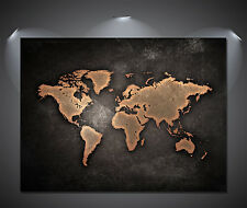 VINTAGE World Map Poster NERO-A0, A1, A2, A3, A4 taglie