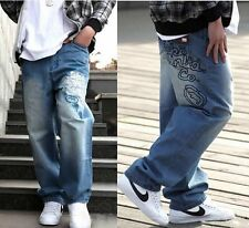 Men's Hip Hop Classical Pants Ecko Loose Dance Trousers Embroidery Casual Jeans