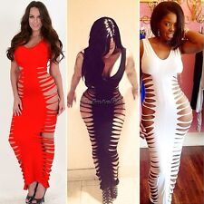 Lady FishBone Laser Cut Out Sleeveless Maxi Bodycon Long Bandage Dress S-L CaF8