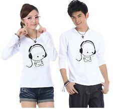 7-color Women men tops clothes Headphone  Lovers couple Long sleeve T-shirt 1#
