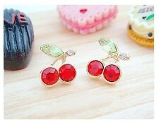 NEW Crystal Rhinestones Red Cherry Stud Earrings