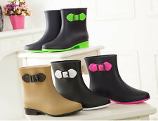 Girls Womens Neon Colors Fashion Buckle Strap Low Heels Motor Mid Calf Rain Boot
