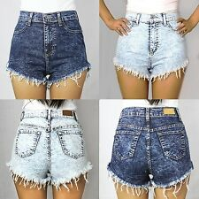 new denim stone / acid wash high waist cut off jean shorts - made in USA