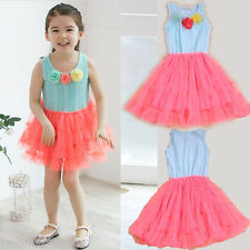 NEW KIDS GIRLS LACE DRESS PARTY SUMMER CASUAL FITTED TOP FLOWER DRESS 1-9 YEARS