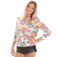 GLAMOROUS WOMEN'S GREY MARL ROSE PRINT SWEATER UK RRP £24