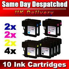 10 Cheap LC980 / LC1100 Ink Cartridges for Brother Printers Black + Colour