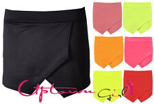 NEW WOMEN LADIES SKORTS SHORTS SKIRT NEON PLAIN CULOTTES IRREGULAR FLANGING WRAP