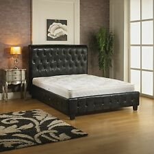 4ft6 Double Faux Leather Designer Sleigh Bed Luxury Tufted Headboard Black Red