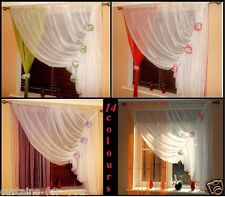 14 COLOURS READY MADE NET CURTAINS FLOWERS VOILE STRING ,TIE BACK LONG SHORT WOW
