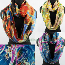 Fashion Floral Colorful Nimbus Infinity Loop Cowl Eternity Circle Soft Scarf New