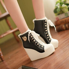 2014 Plus size Womens wedge heels ankle boots lace Up high platform PU shoes