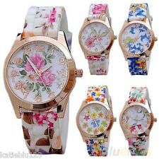 Women's Ladies Designer Style Flower Print Watch, Rose Gold Floral Flower Watch