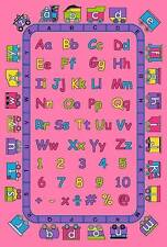 5 x 7, 3 x 5 ABC's ALPHABET PINK TRAIN GIRLS ROOM CHILDREN  AREA RUG EDUCATIONAL