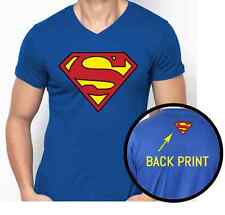 Superman T-shirt - Vneck Royal Blue - Double Side Print - Size S,M,L,XL