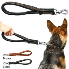 "Heavy Duty Genuine Leather Dog Lead Short Leash 12"" For Large Dogs Walking Boxer"