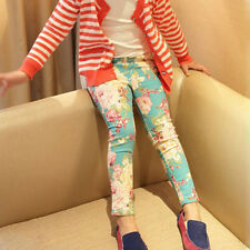 Baby Girls Pattern Printed Pants Feet Trousers Toddler Jeans Pencil Pants Skinny