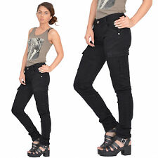 New Womens Black Slim Fitted Combat Pants Skinny Cargo Trousers Boyfriend Jeans