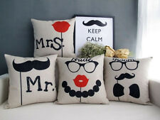 mr and mrs Bride and Groom Beard lip wedding gift pillow cover cushion case sham