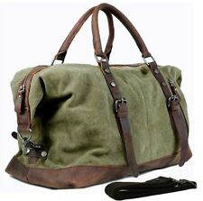Vintage Men military canvas leather travel bag Luggage Duffle Gym Bag Sport tote