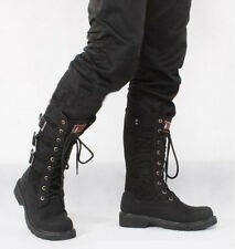 Fashion new Retro Mens Combat Lace Military Knee High Motorcycle Punk Boot Shoe