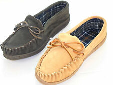 NEW MENS REAL SUEDE LEATHER GENUINE MOCCASIN SLIPPERS SIZE 6-12 HOUSE SHOE MOCS