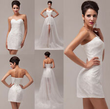 Cheap Lady Wedding Short Long Bridal Ball Gown Lace+Organza Prom Evening Dresses