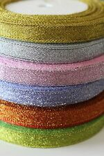 25 yards 10mm Glitter / Sparkle / Sparkly Ribbon - Gold, Silver or Pink